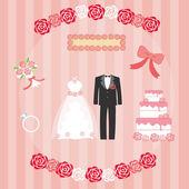 Satz von Hochzeit Dinge — Stockvektor