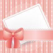 Różowy kartę w tle z koronki, wstążki i łuki — Wektor stockowy