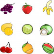 Fruit icons collection  — Stock Vector