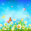 Sunny day background with flowers and butterflies — Vector de stock