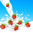 Stock Vector: Strawberry and milk