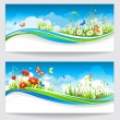 Stock Vector: Two summer banners with flowers and butterflies