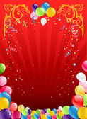 Red holiday background with balloons — Stock Vector