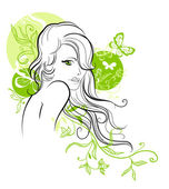 Sketch of beautiful floral girl — Stock Vector