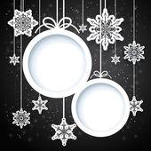 黑色和白色冬季设计与雪花 — 图库矢量图片