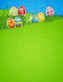 пасхальное яйцо в траве — Cтоковый вектор