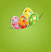 Påsk grön bakgrund med ägg — Stockvektor