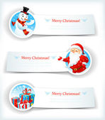 Christmas banners with Santa Claus and snowman — Stock Vector