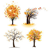 Autumn tree set — Vettoriale Stock