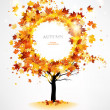 Autumn tree with beautiful flying leaves — Stock Vector