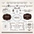 Vector frames and design calligraphic elements set — Stock Vector