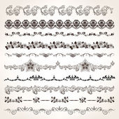 Ornamental vintage border set — Stock Vector