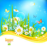 Sunny bright background with blue sky — Stok Vektör