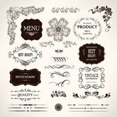 Set of vector design elements and calligraphic page decoration — Stock Vector