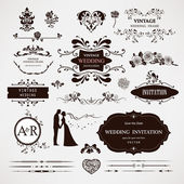 Vector design elements and calligraphic page decorations for wed — Vetor de Stock