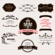 Set of celebration frames and labels with vintage design.  — Imagens vectoriais em stock