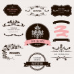 Set of celebration frames and labels with vintage design. — Stock Vector #32839781