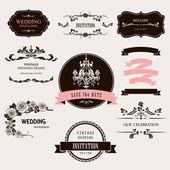 Set of celebration frames and labels with vintage design. — Stock Vector