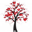 Decorative tree with hearts — Imagen vectorial