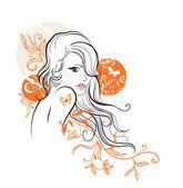 Güzel bir çiçek kız — Stok Vektör