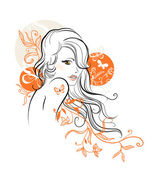 Beautiful floral girl — Stock Vector