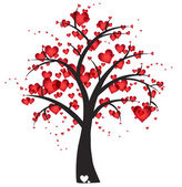 Decorative tree with hearts — Vector de stock