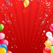 Stock Vector: Celebration red background with balloons