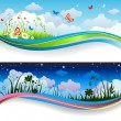 Stock Vector: Day and night summer banners
