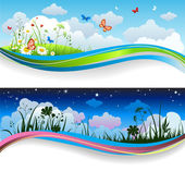 Day and night summer banners — Stock Vector