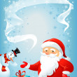 Santa Claus and Snowman — Stock Vector