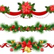 Christmas festive decoration with  spruce  tree — Imagen vectorial