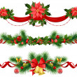 Christmas festive decoration with spruce tree — Vector de stock