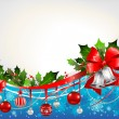 Christmas festive background with silver bells — Stock Vector