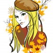Stock Vector: Autumn girl