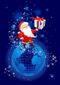 Santa Claus on the planet Earth — Stock Vector