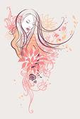 Soyut çiçek kız — Stok Vektör