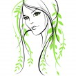 Vector de stock : Beauty floral woman