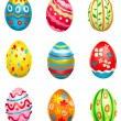 Stock Vector: Painted eggs