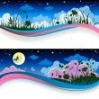 Summer night banners — Stock Vector