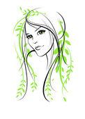 Mujer floral belleza — Vector de stock