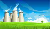 Nuclear plant station and lonely tree — Vector de stock