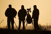 Birdwatchers backlit — Stock Photo