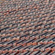 Red Clay Tiled Roof With Lichen — Stock Photo