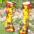 Stock Photo: Colorful Pair of Wellies In Garden