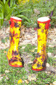 Colorful Pair of Wellies In Garden — Stock Photo