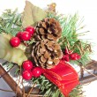 Close Up of Christmas Decoration on Wooden Star Background — Stock Photo