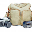Vintage Camera With Camera Bag And Telephoto Lens — Stock Photo