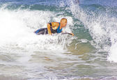 Mature Man Body Surfing Durban South Africa — Stock Photo