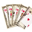 Royal Flush Of Hearts With Bank Notes — Stock Photo