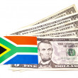 South African Flag On Five American Dollar Notes — ストック写真